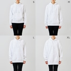 J's Mart 2ndのたまとクロのバレンタインチョコ Hoodiesのサイズ別着用イメージ(女性)