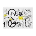 loveclonesのNPBR 自転車女子 ガーリーイラスト Stickable posterの横向き