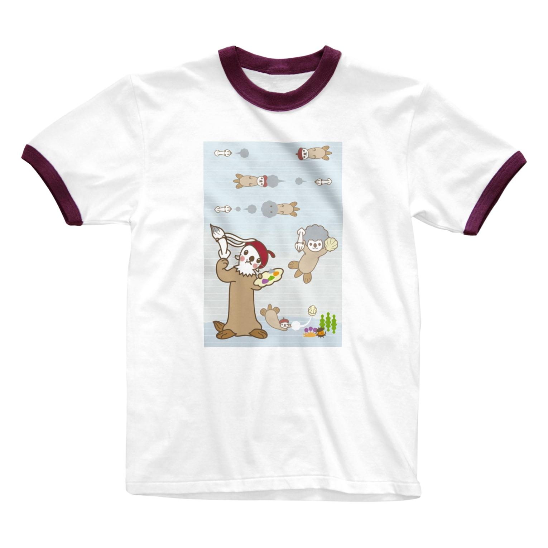 ザ・ワタナバッフルのラッコ+画伯 Ringer T-shirts