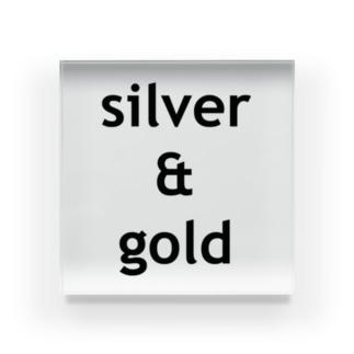 silver & gold Acrylic Block