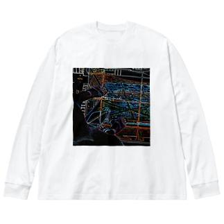 Tokyo Tower Sky Big silhouette long sleeve T-shirts