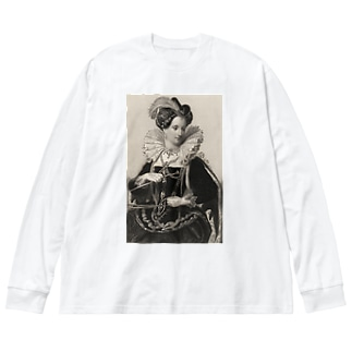 英国女王エリザベスⅠ世 Big silhouette long sleeve T-shirts