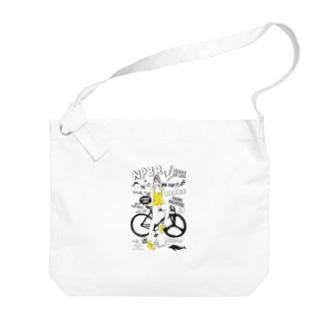 NPBR 自転車女子 ガーリーイラスト Big shoulder bags