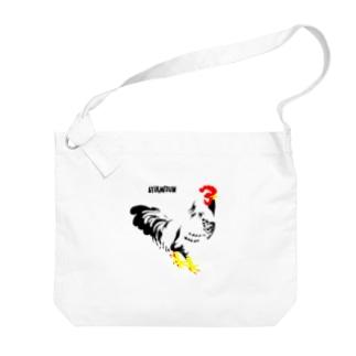 佇む鶏の布かばん Big shoulder bags