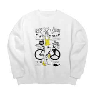 loveclonesのNPBR 自転車女子 ガーリーイラスト Big silhouette sweats