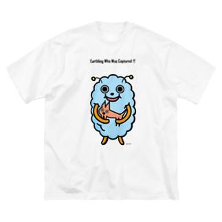 宇宙人もしゃもとペット Big silhouette T-shirts