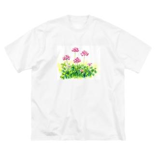 レンゲ草 Big silhouette T-shirts