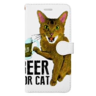 Nobigao ビール猫 Book-style smartphone case