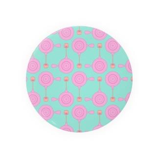 急須と湯呑み(ピンク) Badges