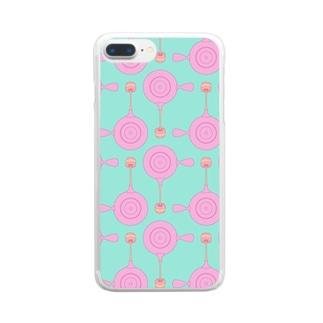急須と湯呑み(ピンク) Clear smartphone cases