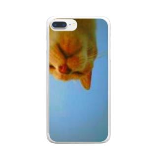 大好きなおばあちゃんにゃんこ Clear smartphone cases