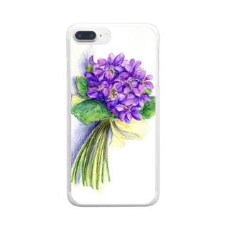 スミレの花束 クリアスマートフォンケース