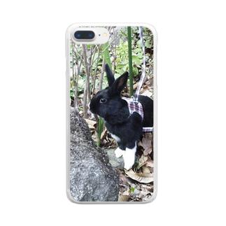 探検 黒うさぎ Clear smartphone cases