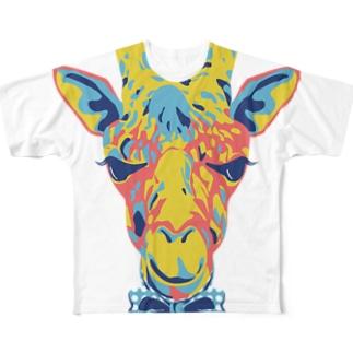 おしゃれ好きなキリン(ジラフ)カラフル フルグラフィックTシャツ