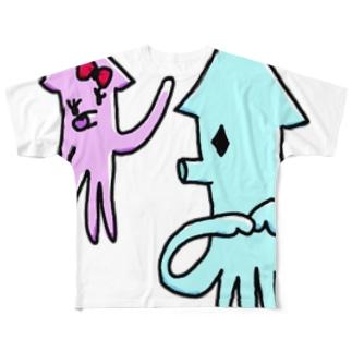 いか(まちあわせ) Full graphic T-shirts