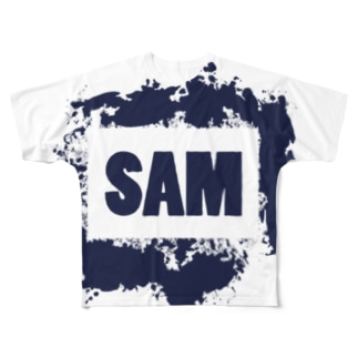 SAMロゴ(紺色) Full graphic T-shirts
