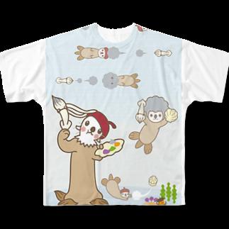 ザ・ワタナバッフルのラッコ+画伯 Full graphic T-shirts