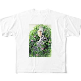 野うさぎ フルグラフィックTシャツ