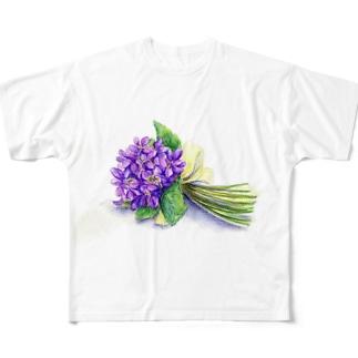 スミレの花束 フルグラフィックTシャツ