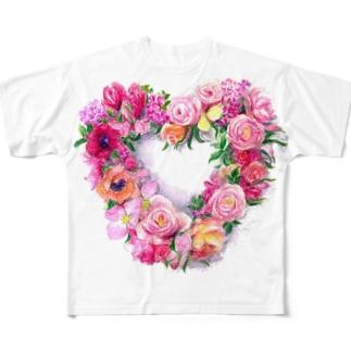 ハート形のリース フルグラフィックTシャツ
