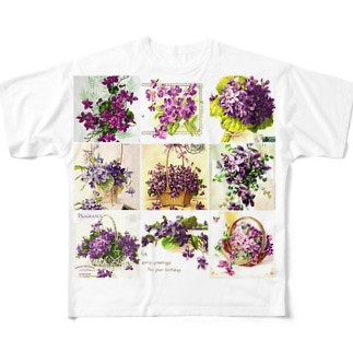 アンティークスミレ フルグラフィックTシャツ