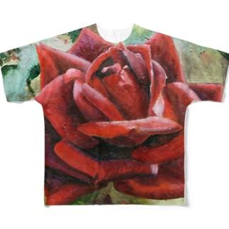 薔薇 フルグラフィックTシャツ