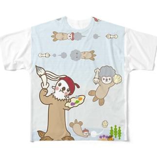 ラッコ+画伯 Full graphic T-shirts