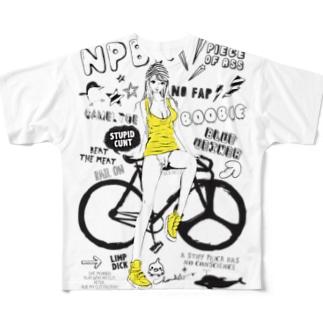 NPBR 自転車女子 ガーリーイラスト Full graphic T-shirts