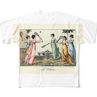 バトミントンで遊ぶレディ達 Full graphic T-shirts