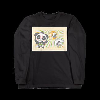 ザ・ワタナバッフルのパンダ+歌舞伎 Long sleeve T-shirts