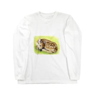 お昼寝の子鹿 ロングスリーブTシャツ