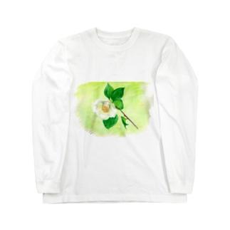白い椿 ロングスリーブTシャツ