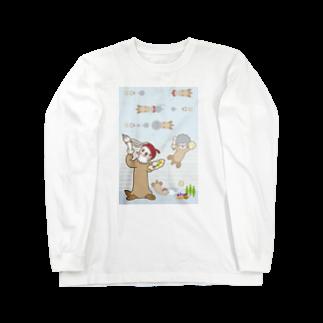 ザ・ワタナバッフルのラッコ+画伯 Long sleeve T-shirts