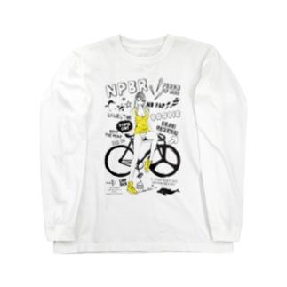 NPBR 自転車女子 ガーリーイラスト Long sleeve T-shirts