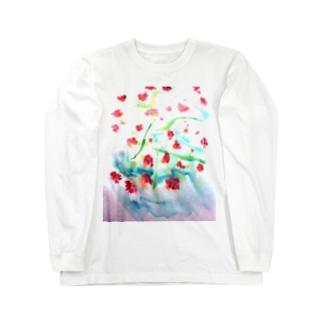 にじみ_お花 Long sleeve T-shirts