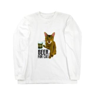 Nobigao ビール猫 Long sleeve T-shirts