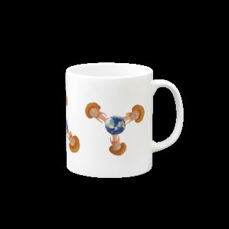 cosajisalutの地球に生えたきのこマグカップ