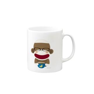 KazumiのSock Monkey Rest In A Cafe Mugs
