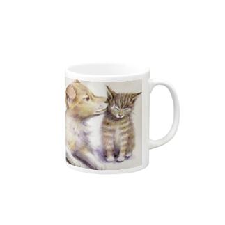 子犬と子猫 マグカップ