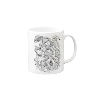 不思議の国のアリス‐手描き風Vrモノクロ Mugs
