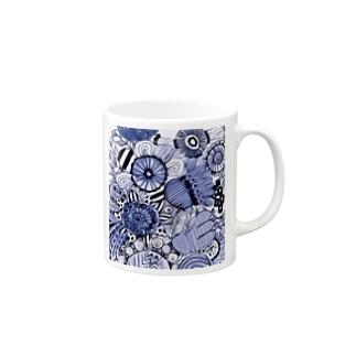 Kissy@Smiley/青色の花 Mugs