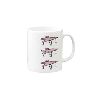 ピンクわに3連 Mugs