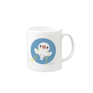 幸せをはこぶ白文鳥 マグカップ