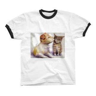 子犬と子猫 リンガーTシャツ