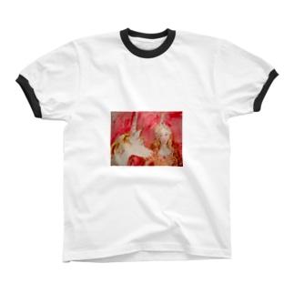 ユニコーンと乙女 リンガーTシャツ