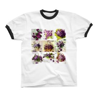 アンティークスミレ リンガーTシャツ