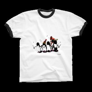 Masashi KaminkoのCarnival of penguins リンガーTシャツ