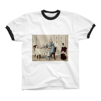 1818年の食卓風景 リンガーTシャツ