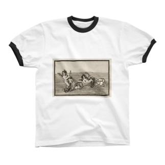 天使のイルカ車レース リンガーTシャツ