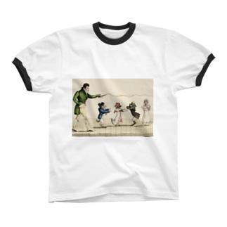 パリのドッグショー リンガーTシャツ